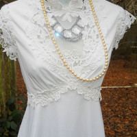 White wedding dress crochet  lace  romantic small by vintage opulence on Etsy