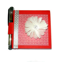 White Tulle Flower Post It Note Holder with Pen, Valentines Day Gifts