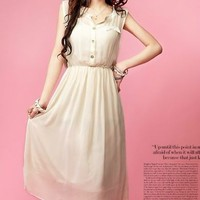 Lovely Ladies Sleeveless Pure Color Long Dress