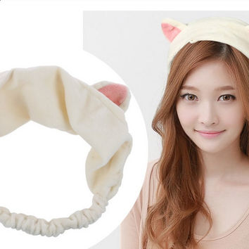 1PC New Korean Velvet Cat Ears Headband Women Hair Accessories Wash Shower Cap Head Ornaments Girls Elastic Hair Band Headband