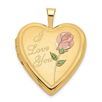 14k Yellow Gold and Enamel I Love You Rose Heart Locket, 20mm