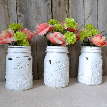 Hand Painted White Mason Jars with Lace Accent- Set of 3