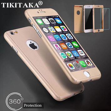 360 Full Cover Protection Case for iPhone 5 5s SE 6 6s Plus Luxury Armor Hard PC Phone Cases + Tempered Glass Screen Protector