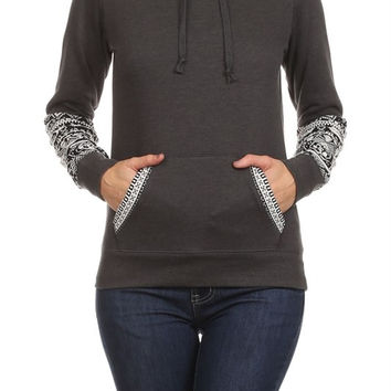 Charcoal Pull Over w/ Aztec Details