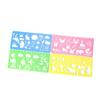 4Pcs Plastic Animals Vehicles Instruments Stencil Set For Kids Art Painting Gift