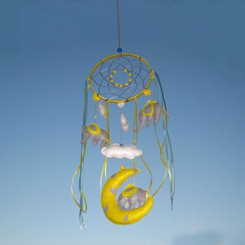 Baby mobile, Сhildren dream catcher, Mobile Nursery Decor, Light Gray, Yellow, Elephant Mobile, Mobile moon, Crib Mobile elephant, Cloud