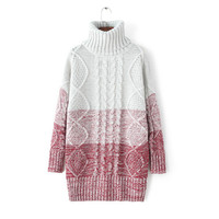 Twisted Winter Gradient Long Sleeve Pullover Patchwork Sweater [8422524097]