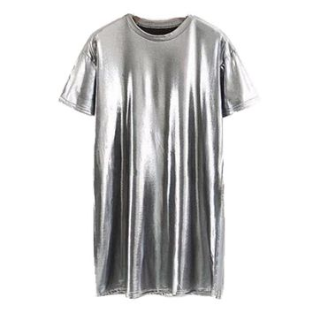 Sexy Short Sleeve Bright Metallic color Dress New Woman Casual O neck Mini Short Straigt Dresses Silver