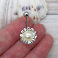 Disc belly button ring , pearl charm, navel piercing, belly button ring jewelry,unique gift
