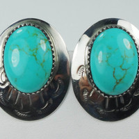 Vintage Sterling Turquoise Earrings Silver Earrings Sterling Earrings Sterling Silver South Western Style Earrings Concho Style Post Back