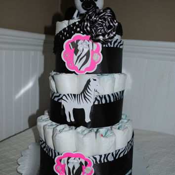 Zebra Themed 3 Tier Diaper Cake