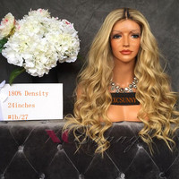 New Fashion 1BT27 Ombre Full Lace Wig Human Hair Blond 2 Tone Ombre Lace Front Wig Peruvian Wavy Blond Wigs Ombre Human Hair