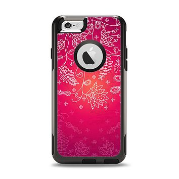 The Vibrant Pink & White Branch Illustration Apple iPhone 6 Otterbox Commuter Case Skin Set