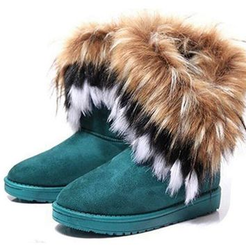 GAORUI fashion autumn and winter warm high long snow boots artificial faux fox rabbit fur leather tassel women's suede shoes