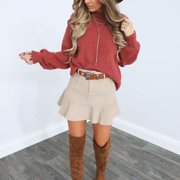 Don't Rush Sweater: Dusty Maroon
