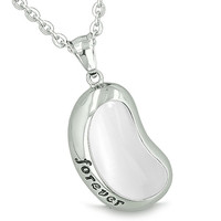 Lucky Bean Charm Forever Inspiration Powers Amulet White Cats Eye Pendant 18 Inch Necklace