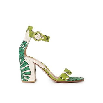 Gianvito Rossi 85 Palm Print Canvas Chunky Heeled Sandals