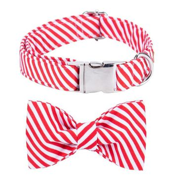Unique Style Paws Christmas Collar Bow Tie Adjustable Pure Cotton Design Cute Fashion Large Medium Small Dogs Cats