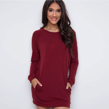 Simple Loose Scoop Long Sleeve Pocket Short Dress