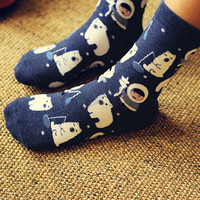 2-Pack Socks: Kawaii Eskimo & Polar Bear Cotton Socks for Women,Short Socks,Christmas Gift,Women Socks,Cat Socks, Wool Socks,Warm Socks