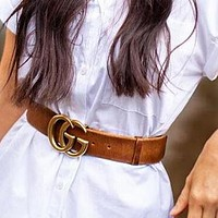 GUCCI Fashion Girls Boys Personality Smooth Buckle Leather Belt Brown
