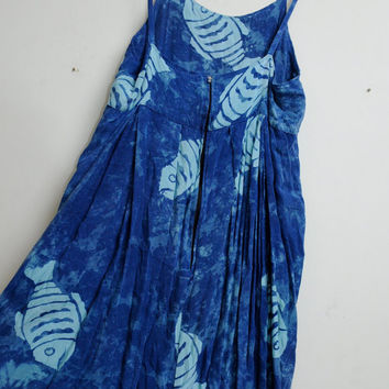 Vintage 80s/90s Tie Dye Blue Hippie Boho Summer Fish Dress