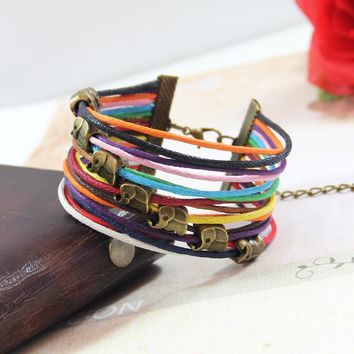 Colorful Multilayer Leather Wax Cord Elephant Bracelet Cuff