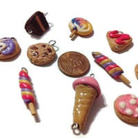 Assorted Sweet Charms - 10 Pieces, dessert charms, food charms, polymer clay charms, food jewelry, miniature food, kawaii, jewelry making,