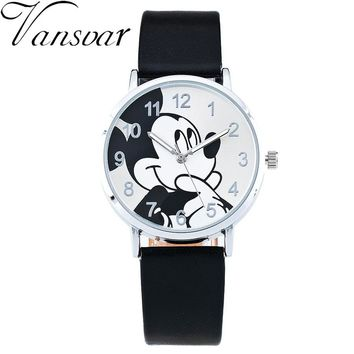 Cute Cartoon Quartz Wristwatch Children Hot Sale Leather Mickey Mouse Watches Fashion Casual Kid Boy Women Girls Relojes 1961