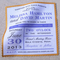Modern wedding invitation on cotton fabric with custom text and hand painted gold metallic edge - 25