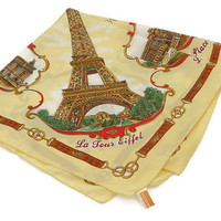 Vintage Paris Souvenir Scarf . Paris, France .  Square Yellow, Red and Gold Scarf .