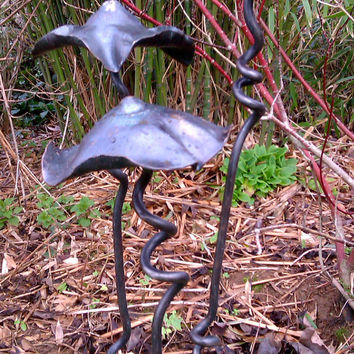 Garden Sculpture, Yard Art, Mushrooms, Fairy Shelters, Blacksmith Made Garden Ornament,  Extra Large Size