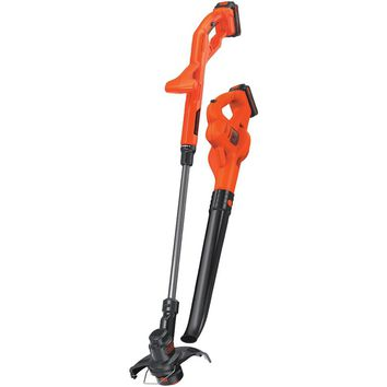 "Black & Decker 20-volt Max 10"" String Trimmer And Edger Hard Surface Sweeper & 2 Batteries Combo Kit"