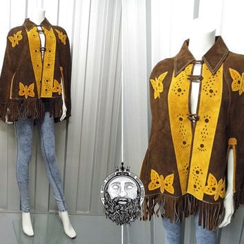 Vintage 60s Womens Cape Brown Suede Poncho Fringed Jacket Embroidered Leather Butterfly Applique Real Leather Brown and Yellow Boho Hippie