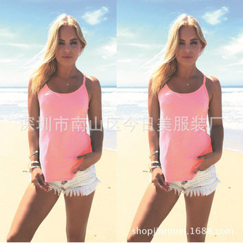 Fashion 2016 Trending Fashion Women Backless Criss Cross Back Spagehetti Strap Top Women Tank Vest _ 7814