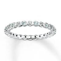 Stackable Aquamarine Ring 1/20 ct tw Diamonds Sterling Silver