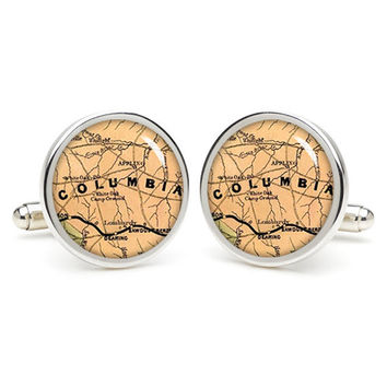 Columbia  map cufflinks , wedding gift ideas for groom,gift for dad,great gift ideas for men,groomsmen cufflinks,silver cufflinks,Map