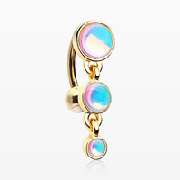 Golden Irisdescent Sparkle Triple Gem Reverse Belly Button Ring