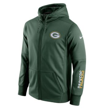 Men's Green Bay Packers Nike Green Sideline Circuit Full-Zip Performance Hoodie