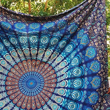 Handmade Mandala Tapestry Gypsy Hippie Bedding Bohemian Ethnic 84 X 90 Inches (Large Queen Size ) Blue