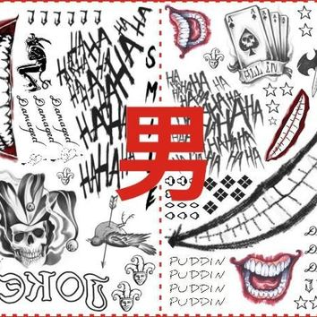 full set Suicide Squad Harley Quinn Joker tattoo Sticker female clown Transfer tattoos Props for Halloween Cosplay Costumes
