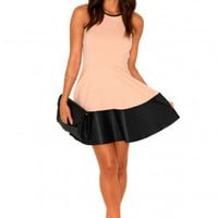 Missguided - Alessia Contrast Ribbed Swing Dress In Nude