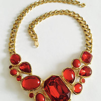 """Signed and Collectible Trifari Gold Toned Chain with faux faceted  """"Red Glass"""" and Cabochon Bib, Statement Necklace, Vintage 1970s Trifari,"""