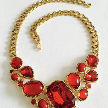 "Signed and Collectible Trifari Gold Toned Chain with faux faceted  ""Red Glass"" and Cabochon Bib, Statement Necklace, Vintage 1970s Trifari,"
