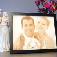 Leather Engraved Wedding Photo - Third Anniversary Gift - Personalized Anniversary Gift - Custom Engraved Picture