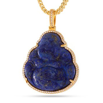 The 14K Gold Buddha Necklace (Lapis)