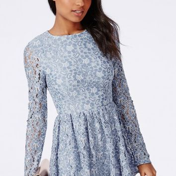 Missguided - Lace Dress Style Romper Blue