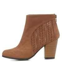 Qupid Laser-Cut Chunky Heel Booties by Charlotte Russe - Camel