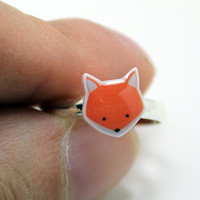 Fox Ring - Orange Silver Plated Adjustable Kawaii Cute