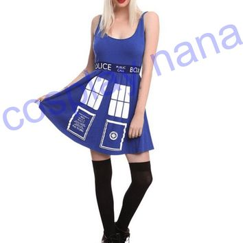 DOCTOR WHO HER UNIVERSE TARDIS cosplay COSTUME DRESS Police telephone slim blue dress halloween costumes for women Christmas pre